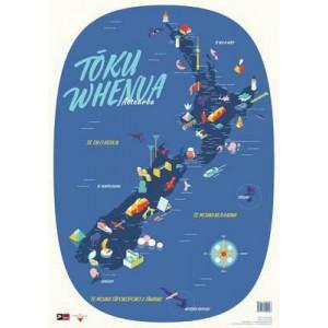 Toku Whenua: Aotearoa: Map of New Zealand (Individual) Map in Te Reo Maori